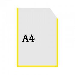 Вертикальный прозрачный кармашек формата А4 с уголком (желтый оракал)