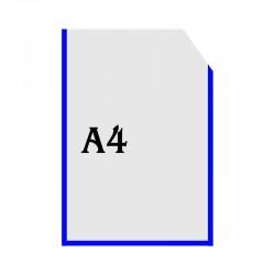 Вертикальна прозора кишенька формату А4 з куточком синій оракал