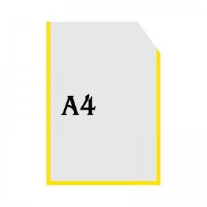 Вертикальна прозора кишенька формату А4 з куточком (жовтий оракал)  -    Пластикові кармани    Кармани А-4 вертикальні