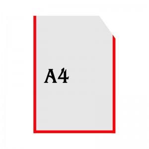 Вертикальна прозора кишенька формату А4 з куточком (червоний оракал)  -    Пластикові кармани    Кармани А-4 вертикальні