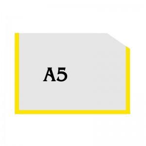 Горизонтальна прозора кишенька формату А5 з куточком (жовтий оракал)  -    Пластикові кармани