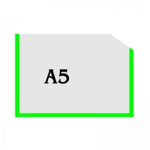 Горизонтальный прозрачный карман формата А5 с углом (зеленый оракал)  -    Пластикові кармани