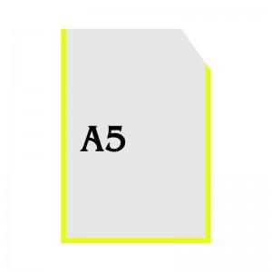 Вертикальный прозрачный кармашек формата А5 с уголком (желтый оракал) -    Карманы для стендов     Карманы А-5 вертикальны