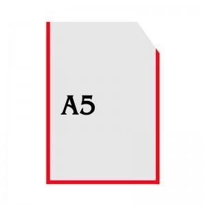 Вертикальный прозрачный кармашек формата А5 с уголком (красный оракал) -    Карманы для стендов     Карманы А-5 вертикальны