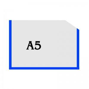 Горизонтальный прозрачный карман формата А5 с углом (синий оракал) -    Карманы для стендов     Карманы А-5 горизонтальны