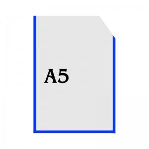 Вертикальный прозрачный кармашек формата А5 с уголком (синий оракал) -    Карманы для стендов     Карманы А-5 вертикальны