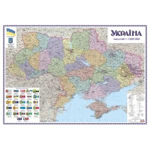 Административная карта Украины 150х105 на планках -    Карты Украины
