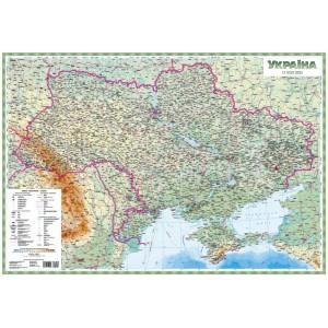 Физическая карта Украины 93х63 на планках -    Карты Украины