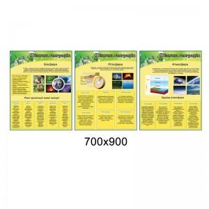 Комплект стендов для кабинета географии (желто-зеленый) -     Стенды для кабинета географии