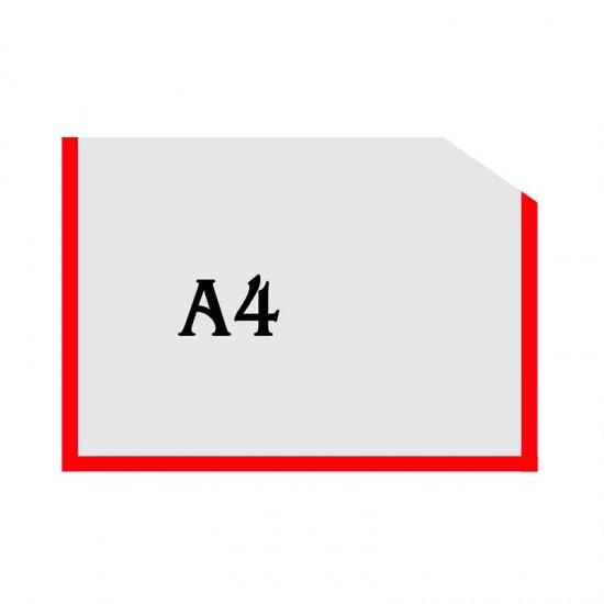 Горизонтальна прозора кишенька формату А4 з куточком червоний оракал