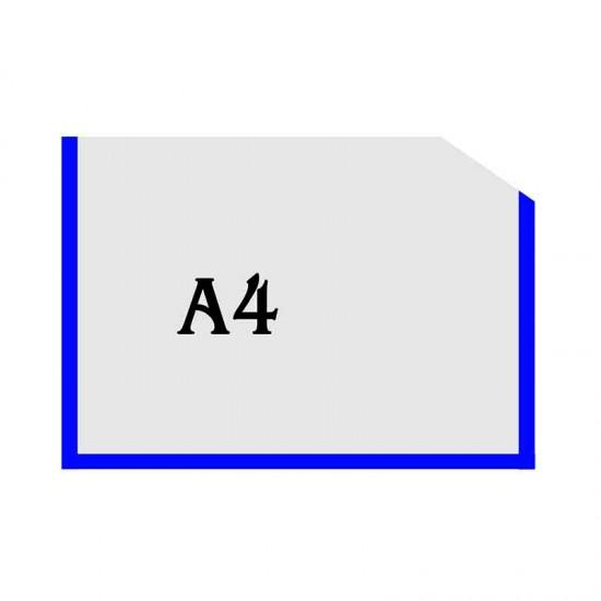 Горизонтальна прозора кишенька формату А4 з куточком синій оракал