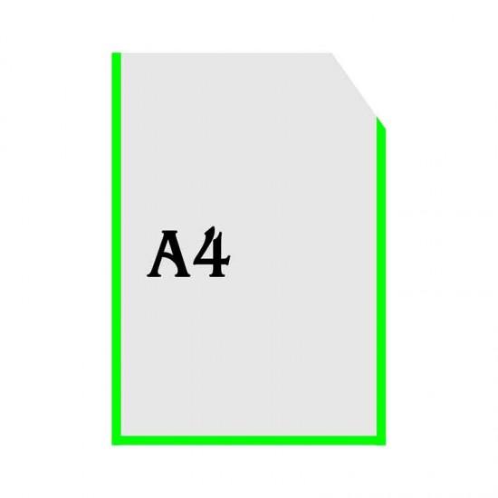 Вертикальна прозора кишенька формату А4 з куточком зелений оракал