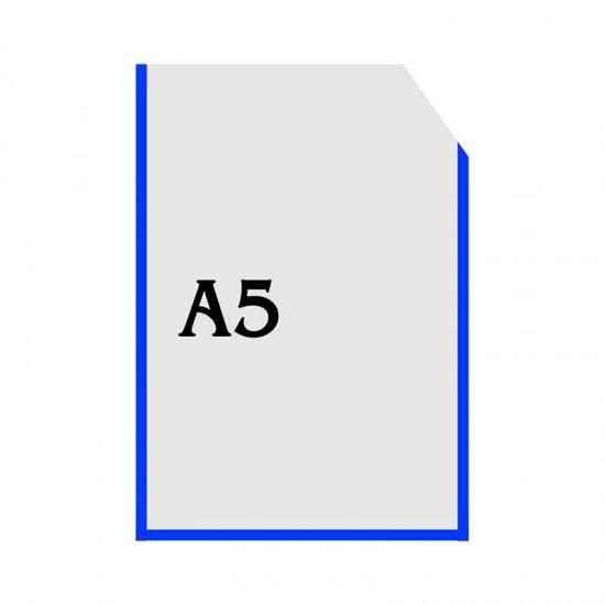 Вертикальна прозора кишенька формату А5 з куточком синій оракал