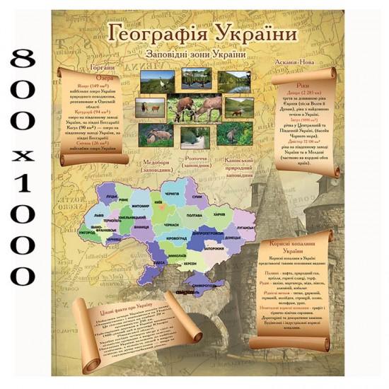 """Плакат з географії """"Заповідні зони України"""""""