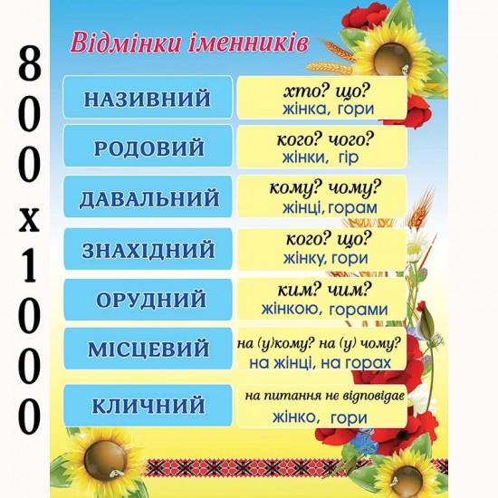 """Плакат """"Відмінники іменників"""""""